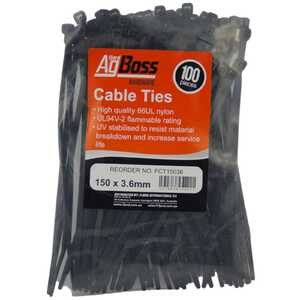 AgBoss 150 x 3.6mm Cable Tie Zip Ties 100pc