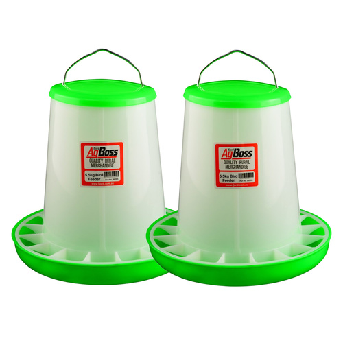 AgBoss 2x 5.5kg Green Poultry Feeders