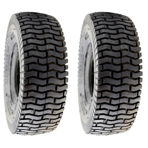 2x Ride on Mower Tyre Tubeless 4 Ply Turf Saver 4.10 x 3.50 - 4""